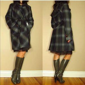 Marina Rinaldi Hooded Coat Belt Trench Plaid Wool